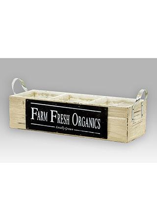 Dřevěný truhlík - Farm fresh Organics