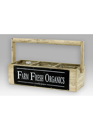 Dřevěný truhlík - Farm fresh Organics s uchem
