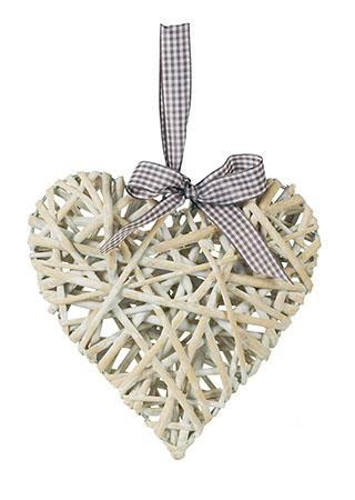 Srdce proutěné bílé s mašlí