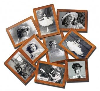 Dřevěný fotorámeček na 9 fotek hnědý