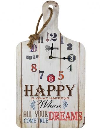 Dřevěné hodiny na zeď Prkénko Happy