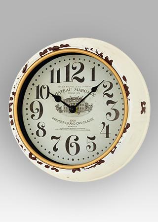Plechové vintage hodiny na zeď Chateau mardaux