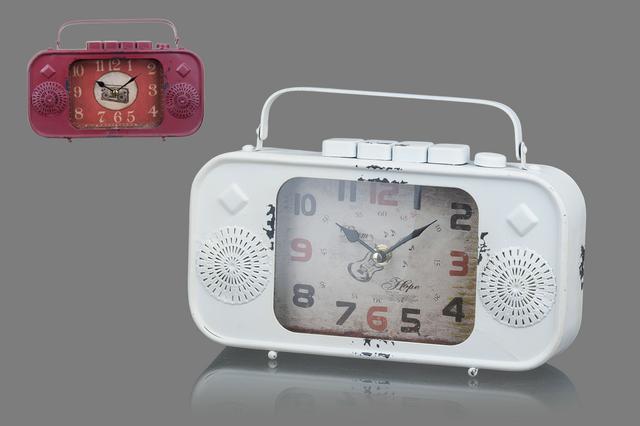 Plechové vintage hodiny Rádio bordó