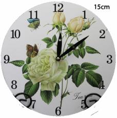 Dřevěné hodiny na zeď Bílé růže