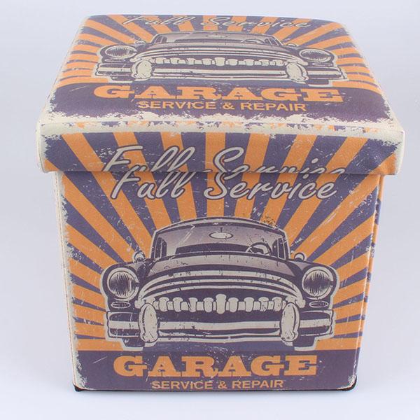Čalouněný skládací taburet Garage Full service fialový