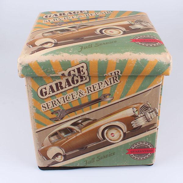 Čalouněný skládací taburet Garage Service - repair zelený