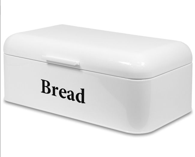 Plechový chlebník Bread bílý