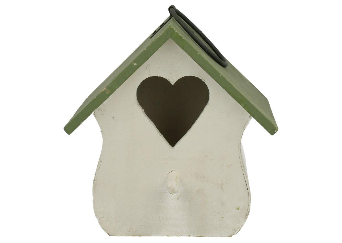 Ptačí budka Domek srdce bílý poškozeno