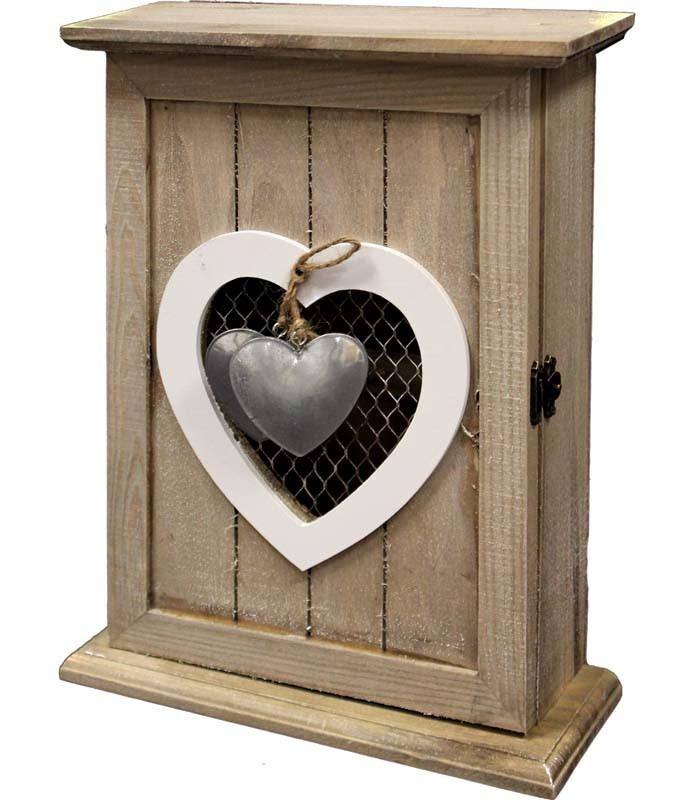 Dřevěná skříňka na klíče Srdce