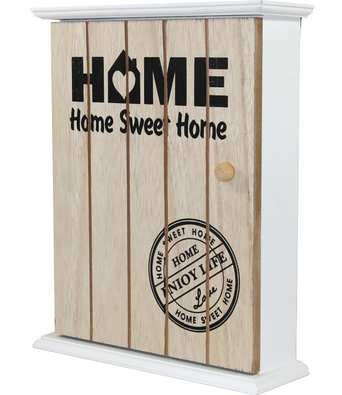 Dřevěná skříňka na klíče Home sweet