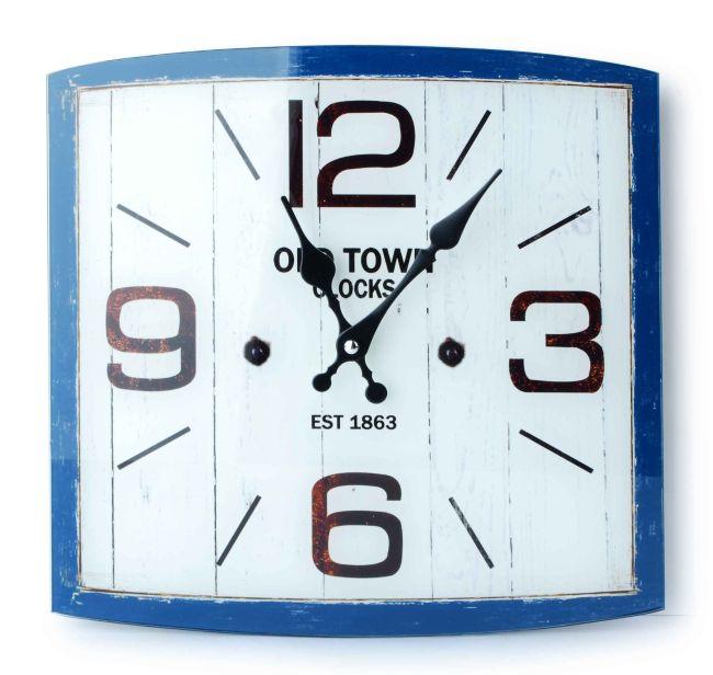 Skleněné hodiny na zeď Old town modrý okraj