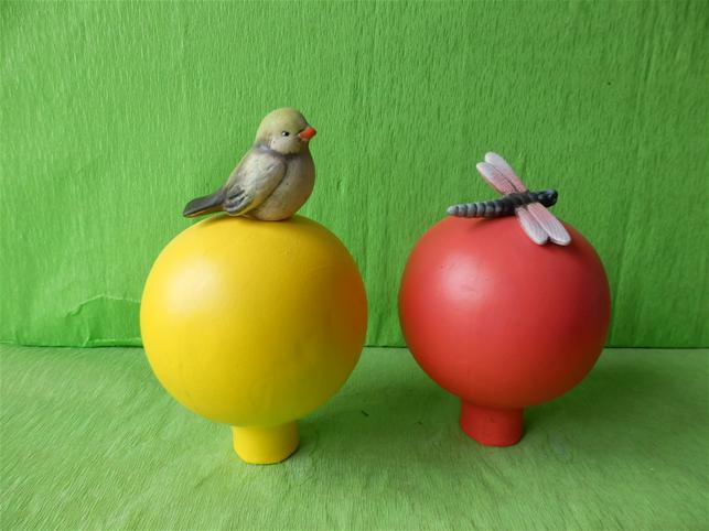 Keramická plotovka Koule Ptáček