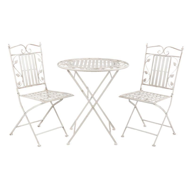 Kovový zahradní nábytek bílý Lístky