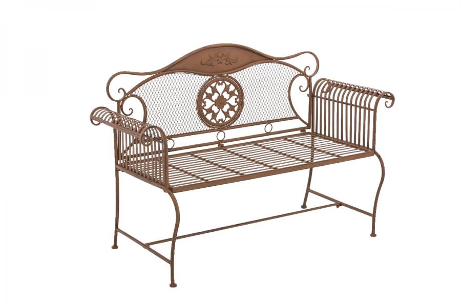 Kovová lavice Provence style Pečeť hnědá