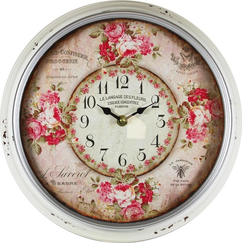 Plechové vintage hodiny na zeď Des fleurs
