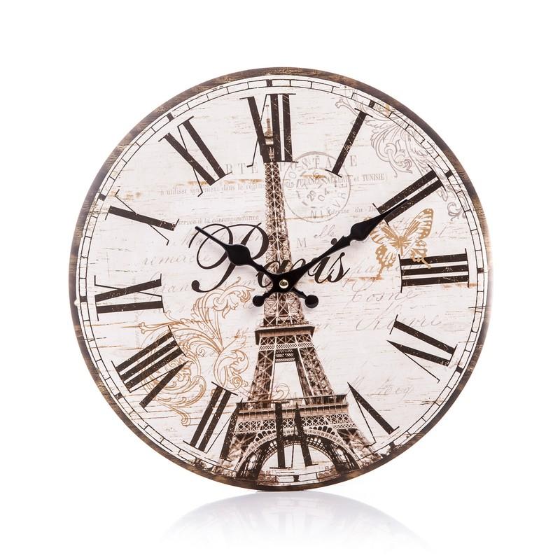 Dřevěné hodiny na zeď Paris Eiffelovka