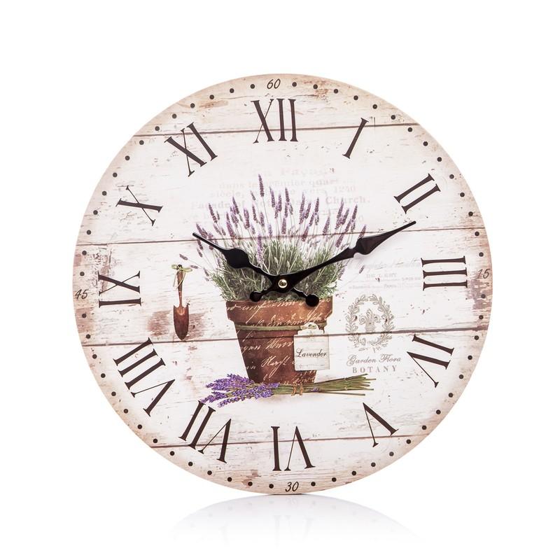 Dřevěné hodiny na zeď Provence - Levandule