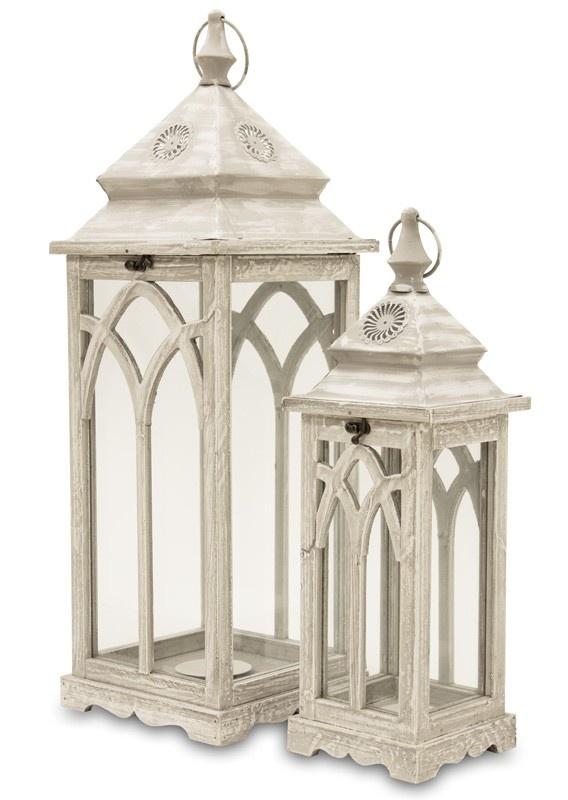 Dřevěné lucerny bílé Gotik 1+1