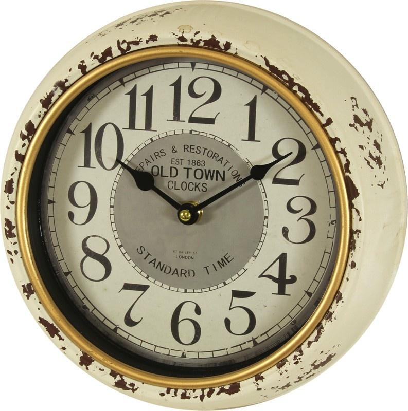 Plechové vintage hodiny na zeď Old Town