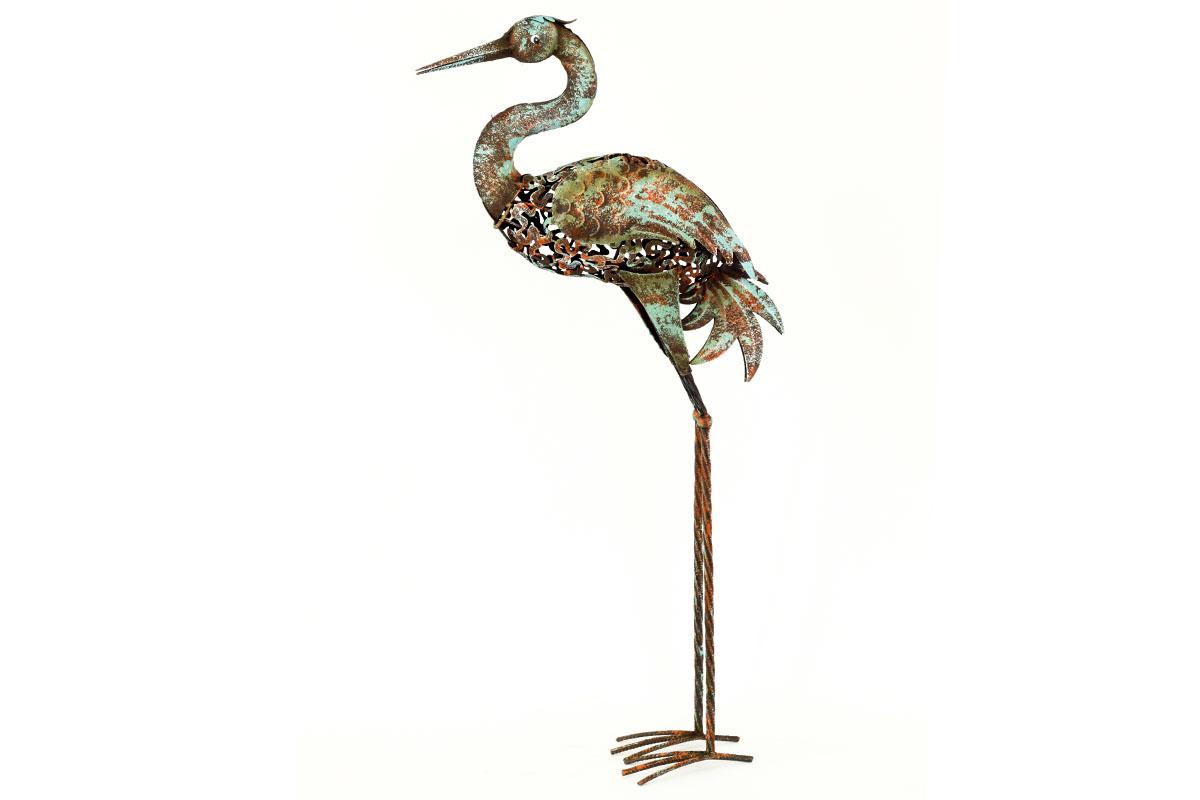 Luxusní kovový pták Volavka - dekorace na zahradu