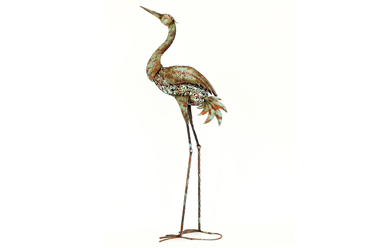 Luxusní kovový pták Volavka hlava nahoru - dekorace na zahradu