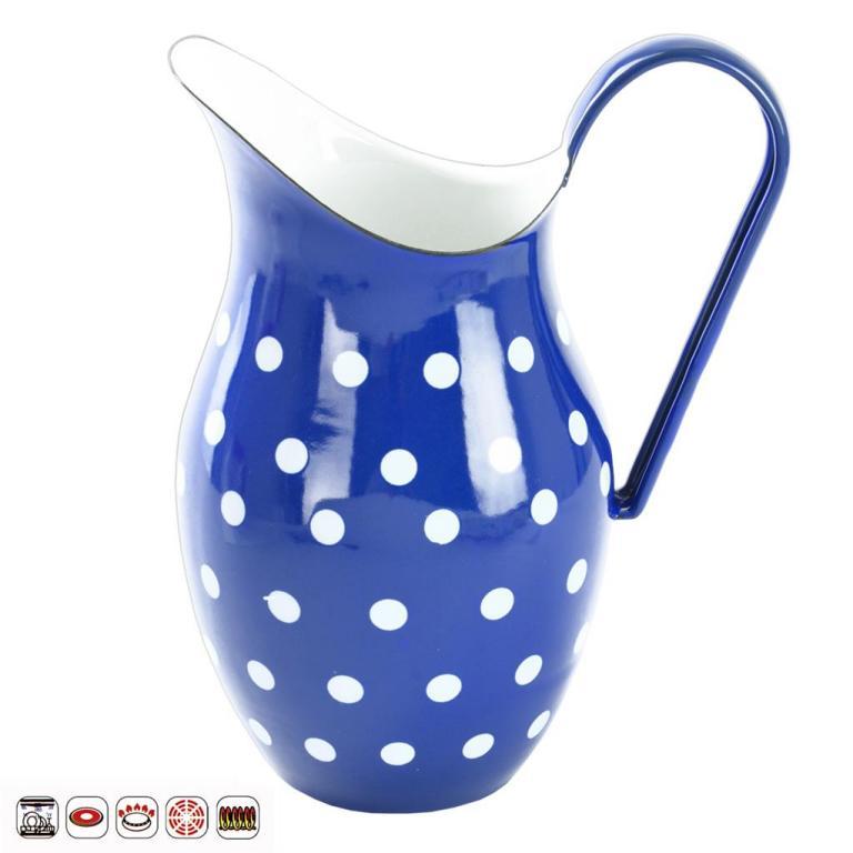 Smaltovaný džbán Puntíky modrý 2,5l