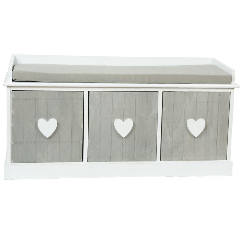 Dřevěná lavice s polstrováním Srdce 3