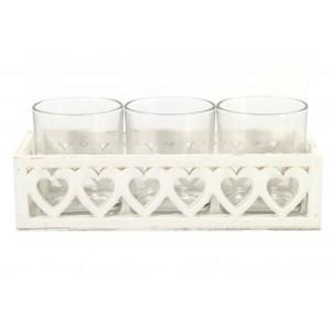Dřevěný svícen - 3 svíčky bílý Srdce