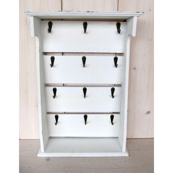 Dřevěná skříňka na klíče bílá Simple 12 věšáčků