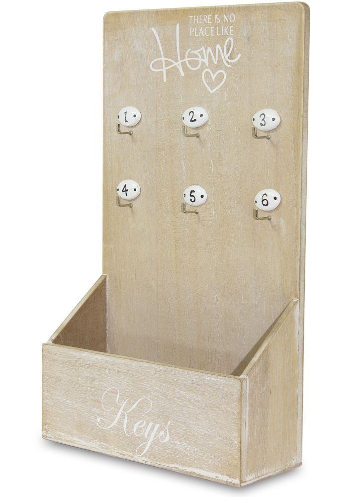 Dřevěný věšák na klíče - Home s přihrádkou