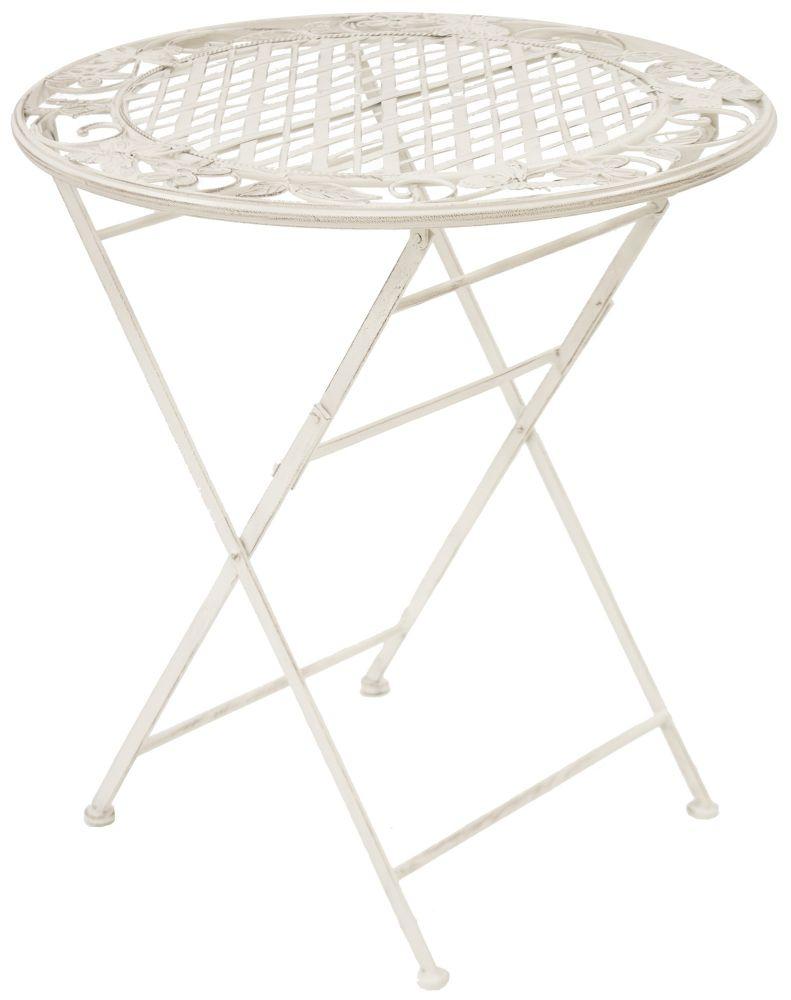 Kovový zahradní stolek bílý Lístky