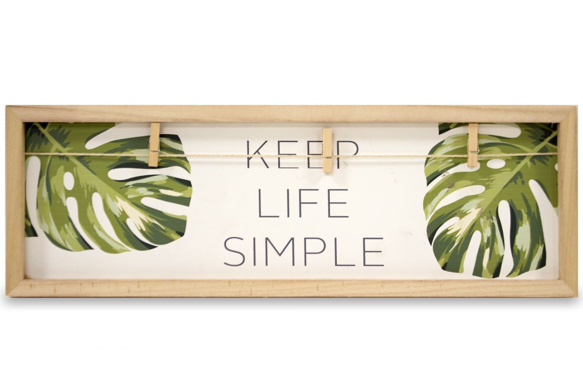 Dřevěný věšák Monstera Keep life simple