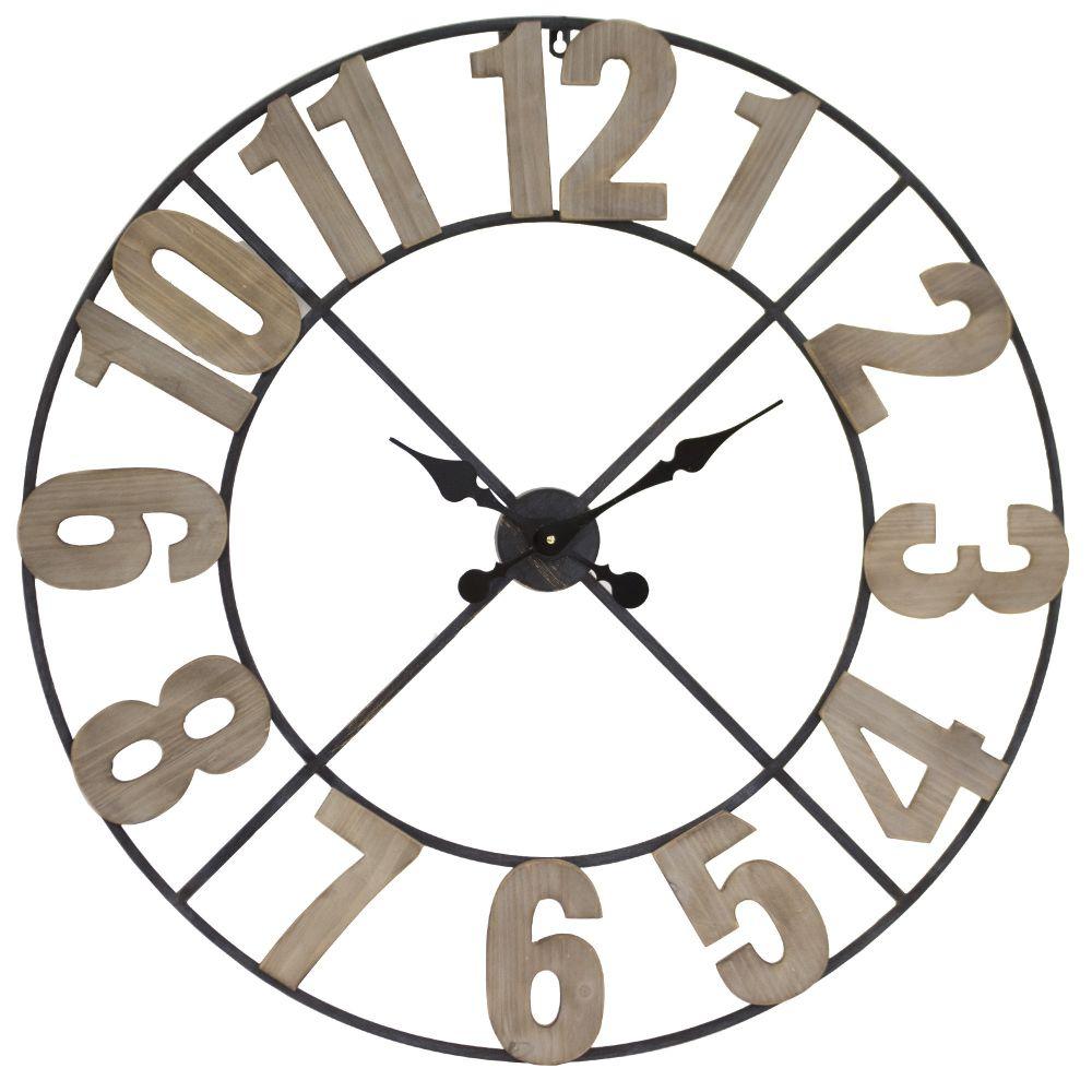 Kovové maxi hodiny na zeď s dřevěnými čísly