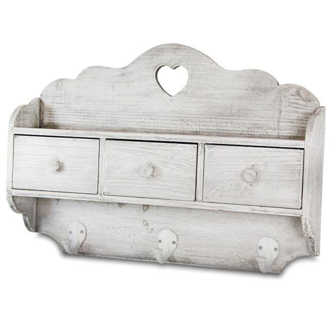 Dřevěná polička White dream 3 šuflíky