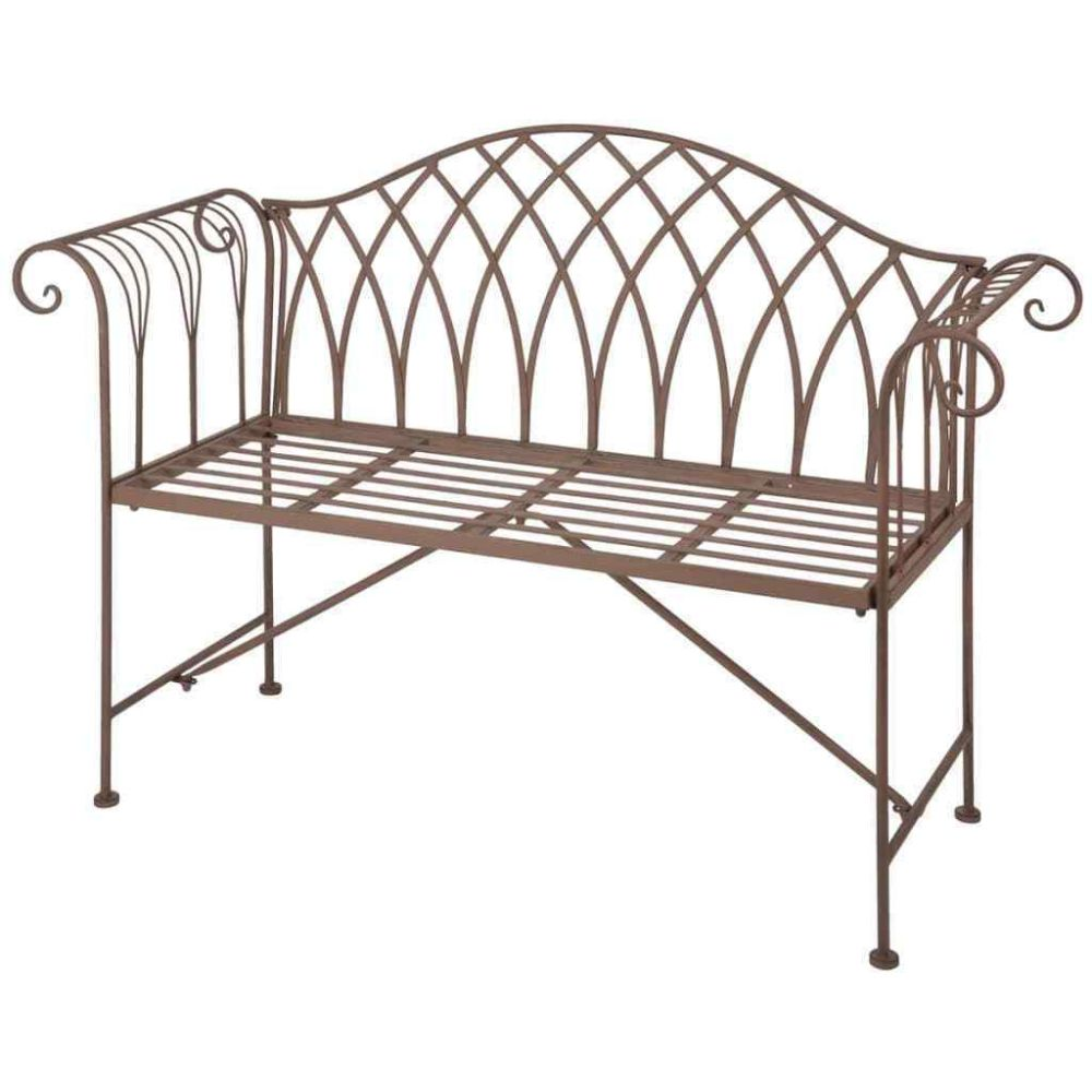 Kovová lavice - lavička Provence style hnědá Danielle