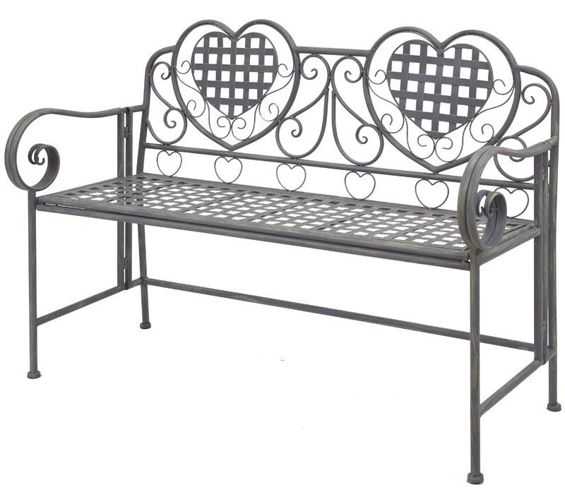 Kovová lavice Provence style Srdíčka šedá
