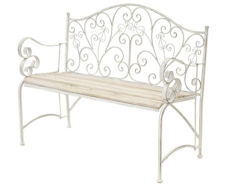 Kovová lavice Provence style Barbora bílá