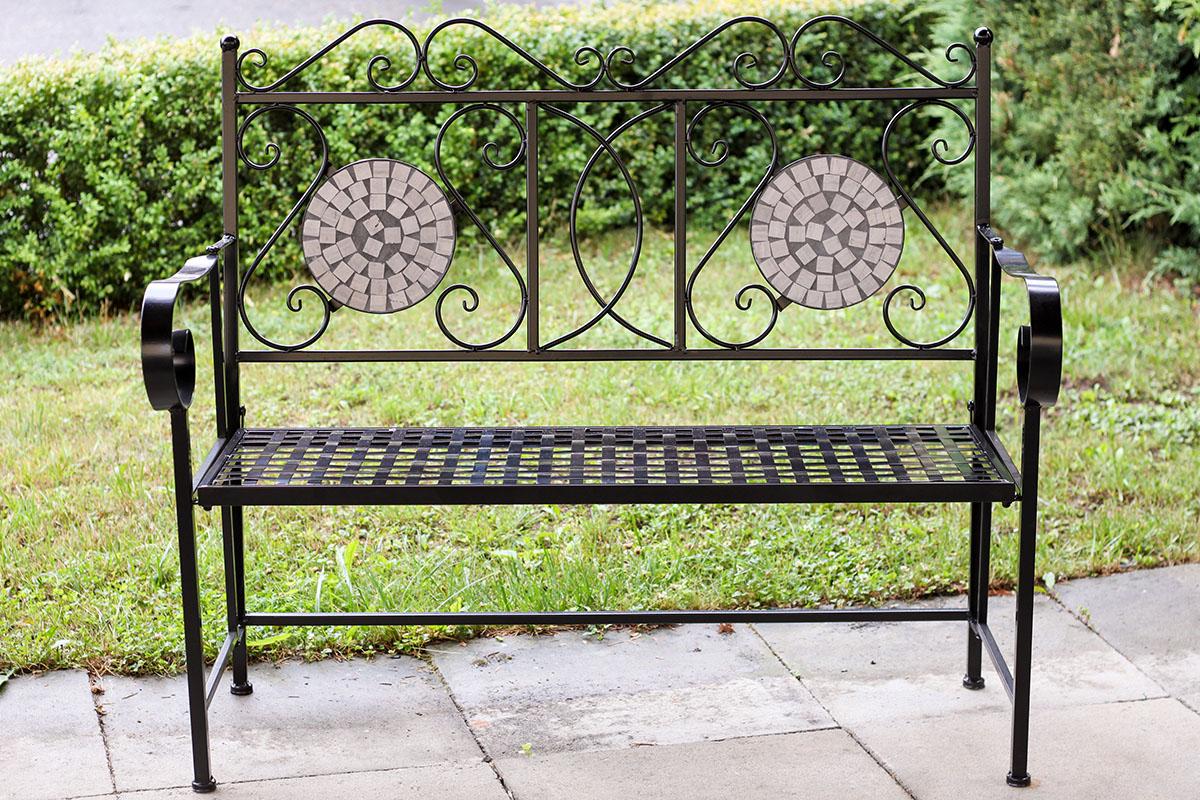 Kovová lavice Provence styl mozaika Tamara černá