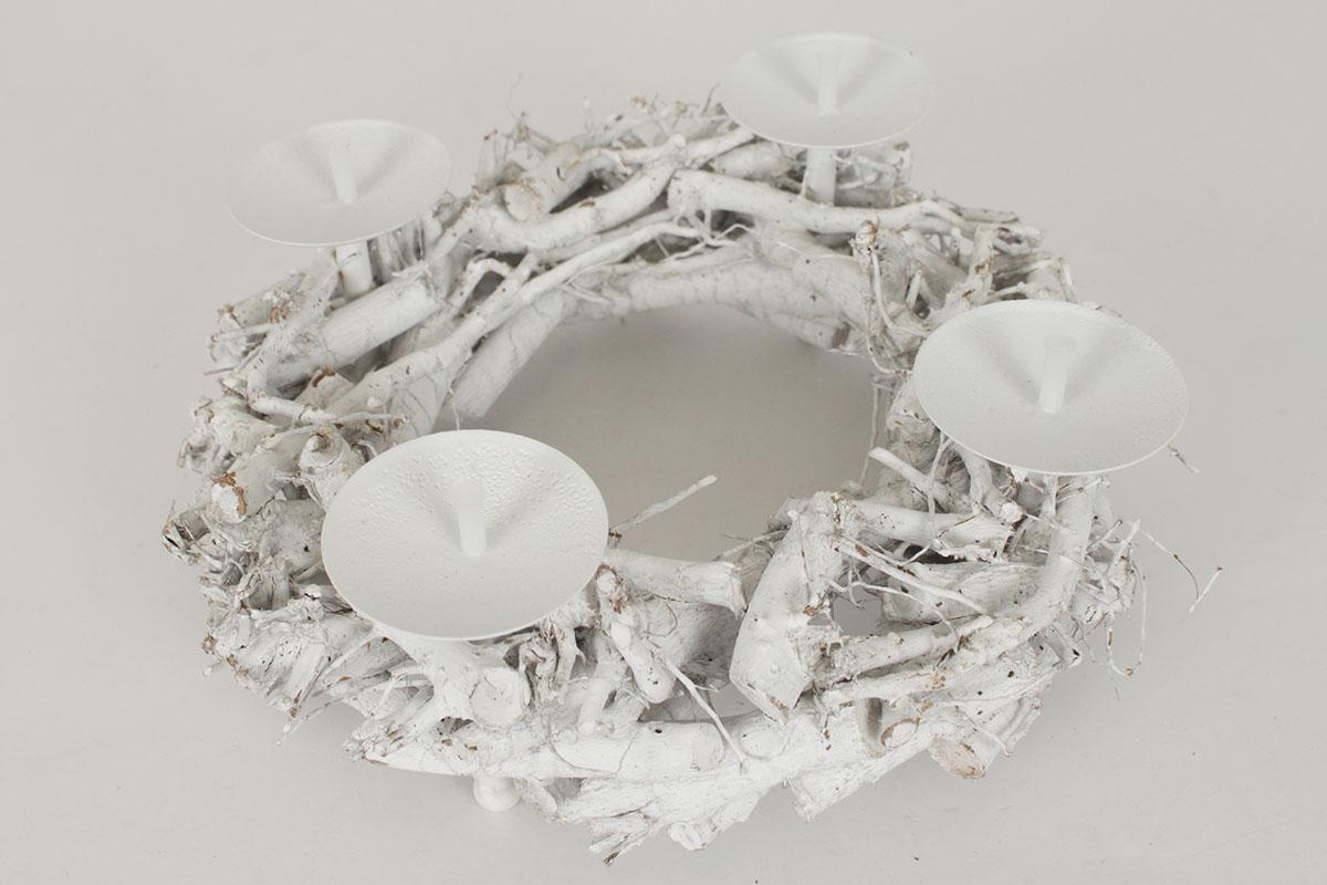 Proutěný adventní svícen - Věnec bílý větve
