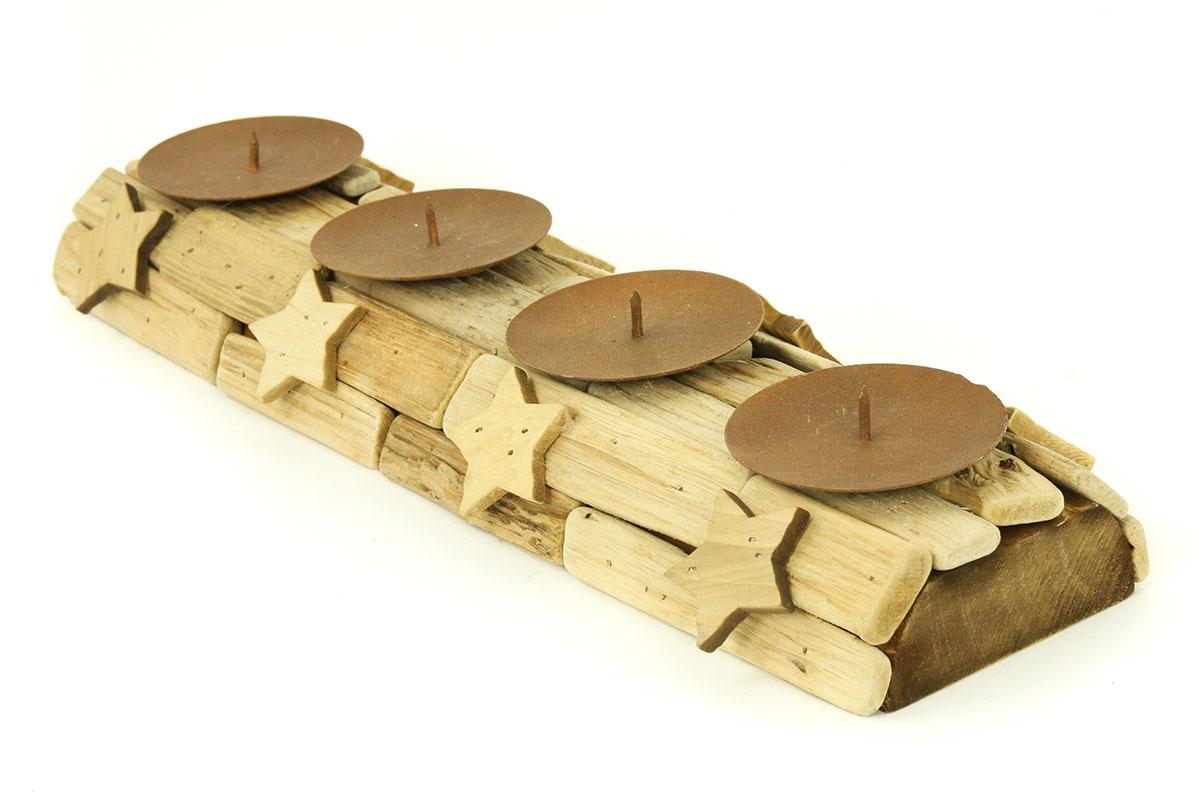 Dřevěný adventní svícen - Hvězdy
