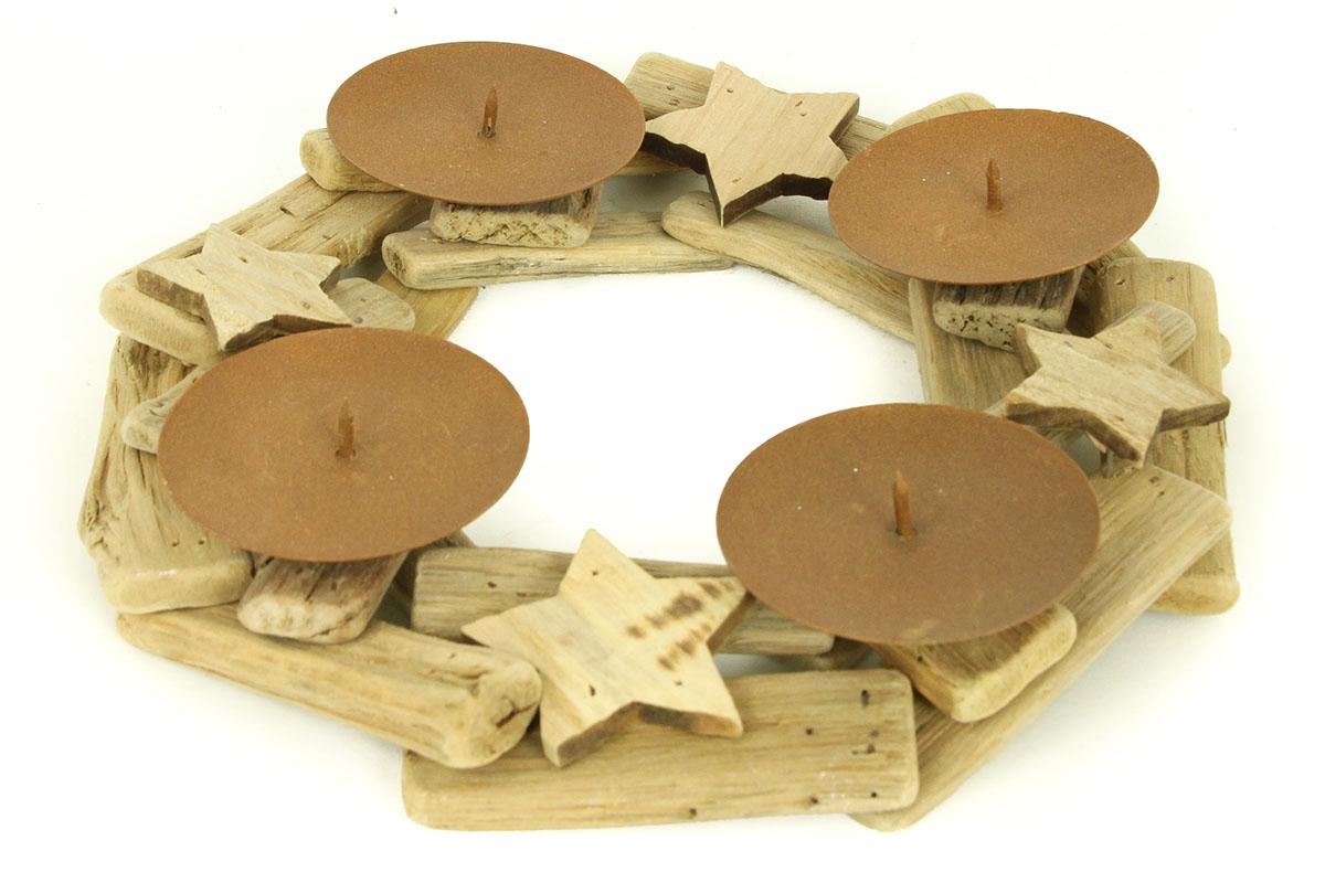 Dřevěný adventní svícen věnec - Hvězdy