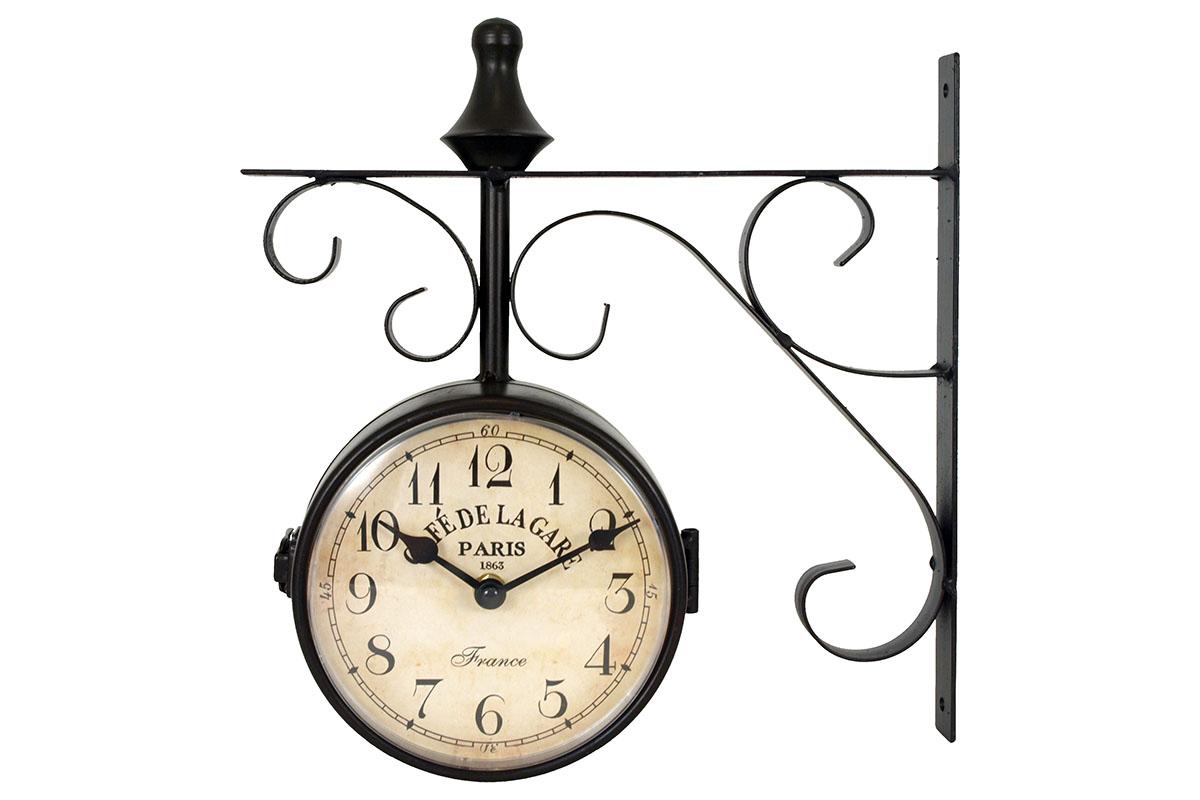 Kovové nádražní hodiny bez textu