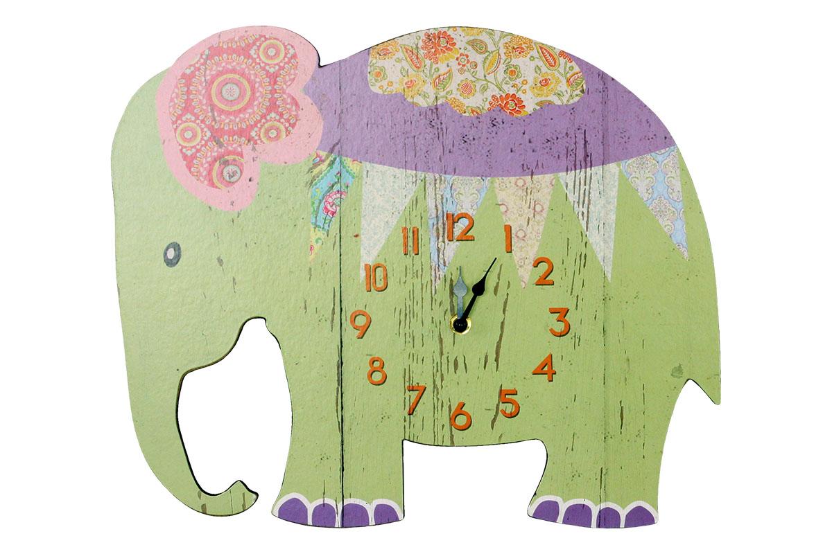 Hodiny na zeď Slon - zelené