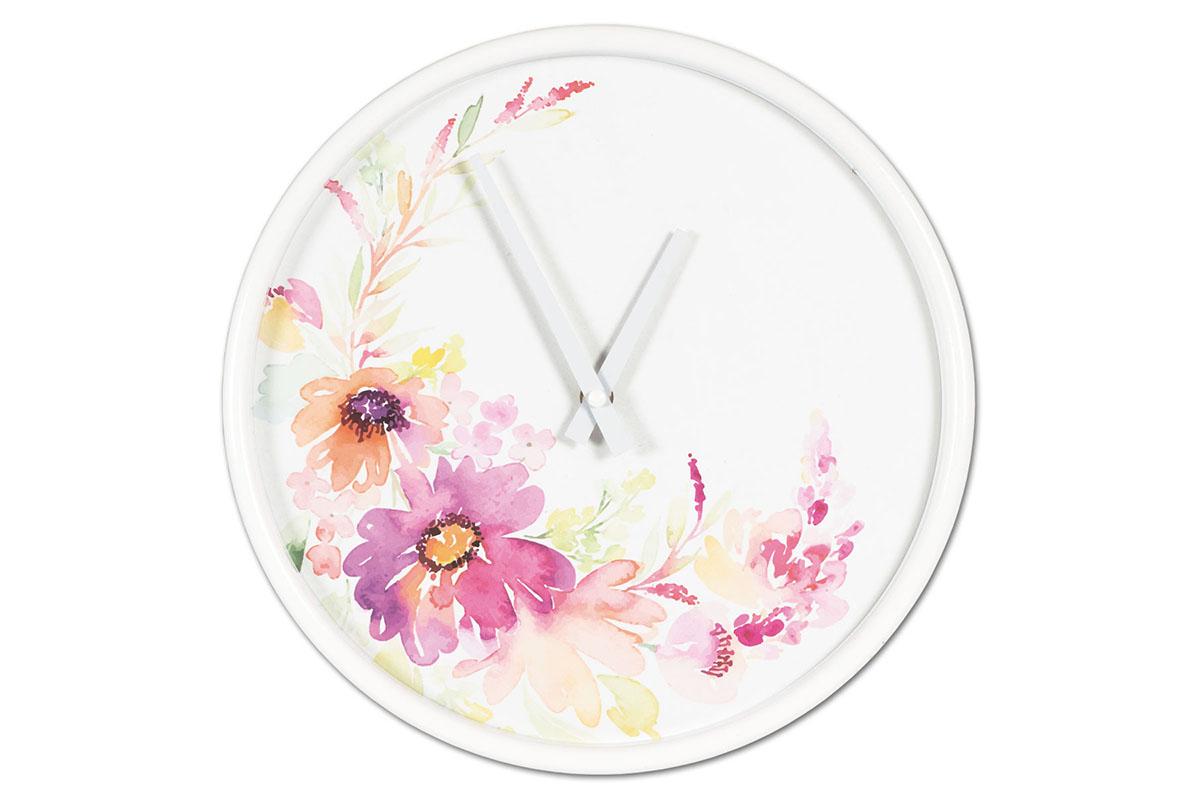 Kovové hodiny na zeď Květiny