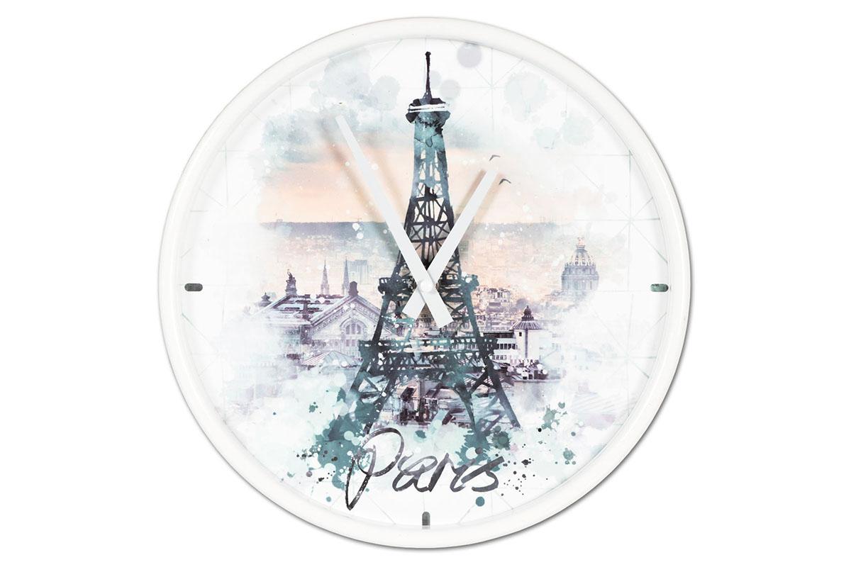 Kovové hodiny na zeď Paris Eiffelkovka