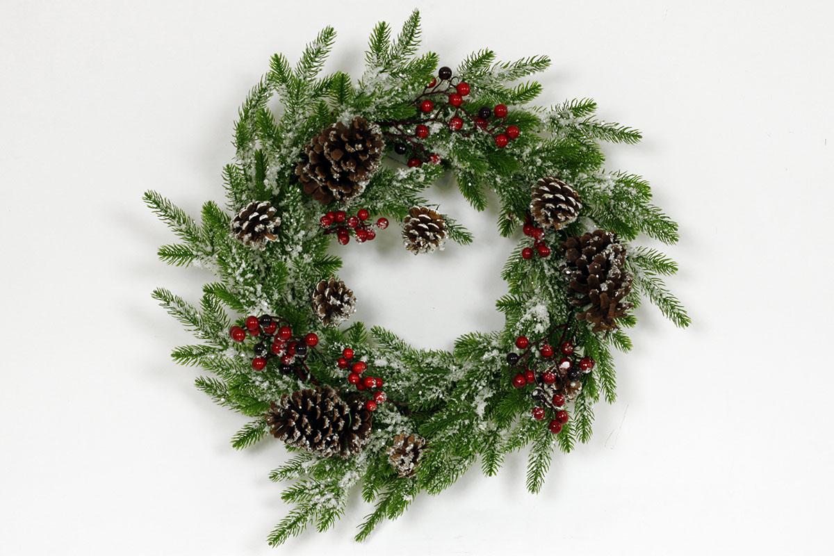 Proutěný vánoční věnec Smrkový se šiškami