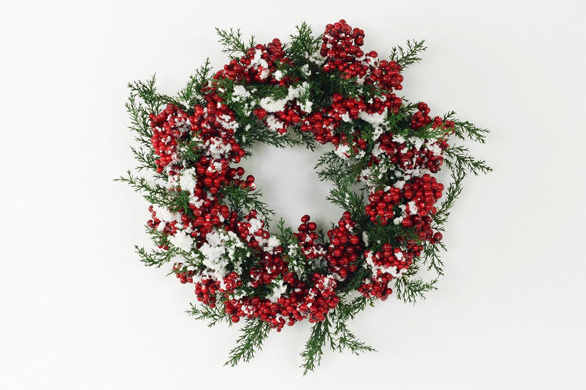 Proutěný vánoční věnec Červený