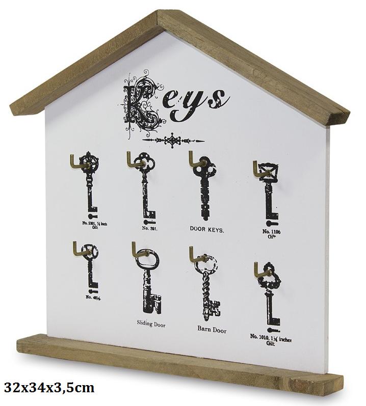 Dřevěný věšák na klíče - Domek různé klíček