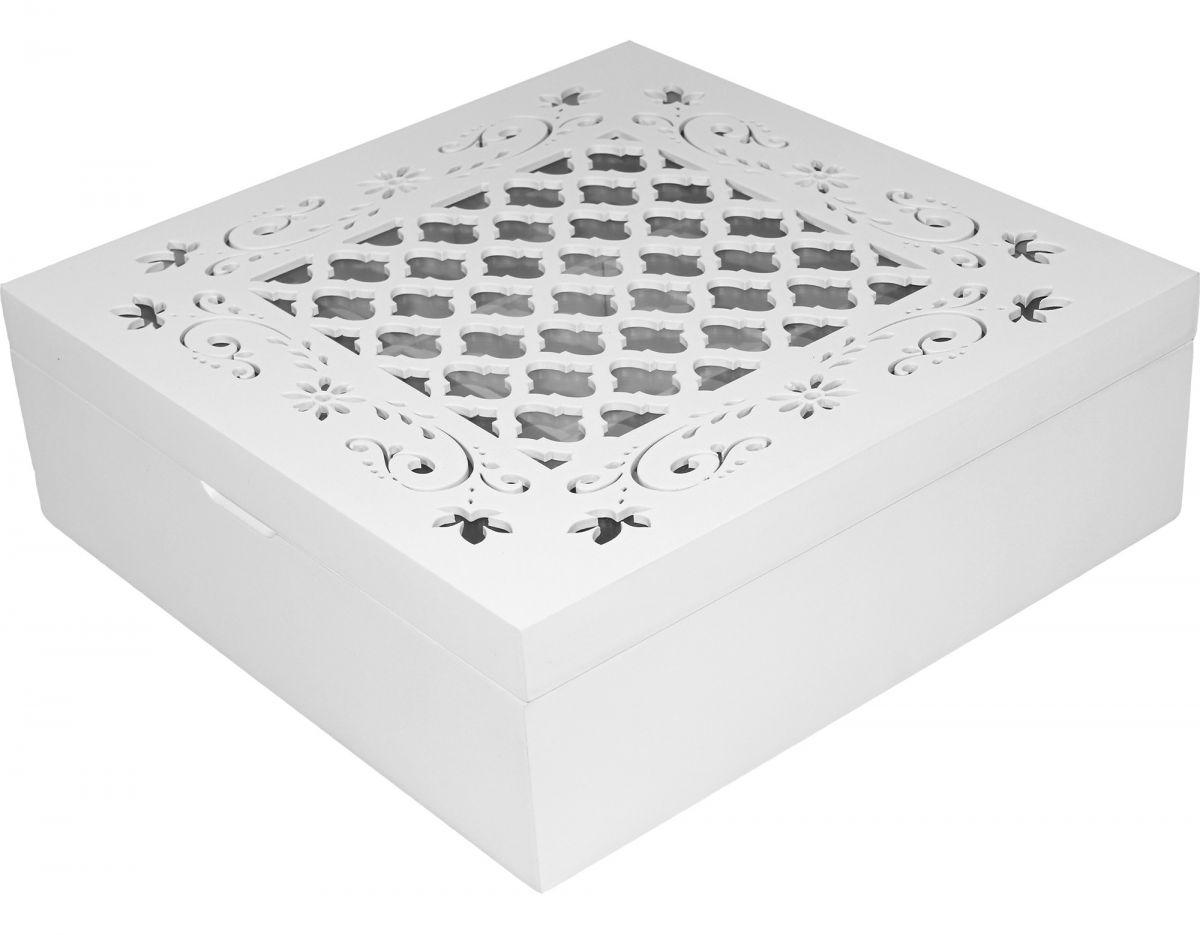 Skříňka - na čaj bílá vyřezávaný dekor Mřížka
