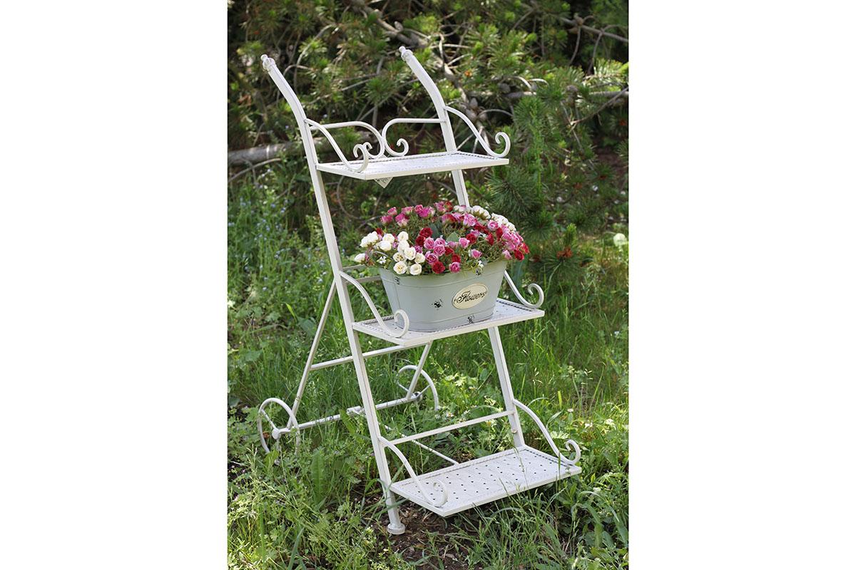 Kovový stojan na květináče bílý Amozza